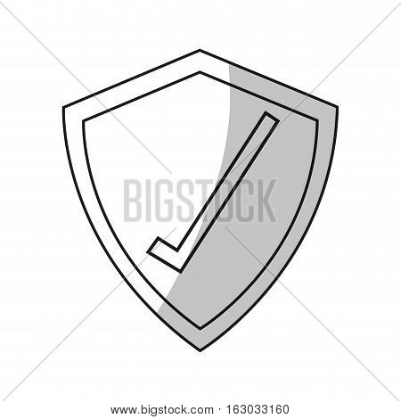 Check mark inside shield icon. Security system warning protection and danger theme. Isolated design. Vector illustration