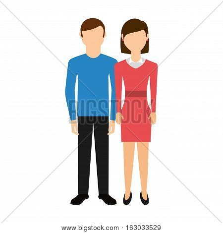 young couple happy icon vector illustration design