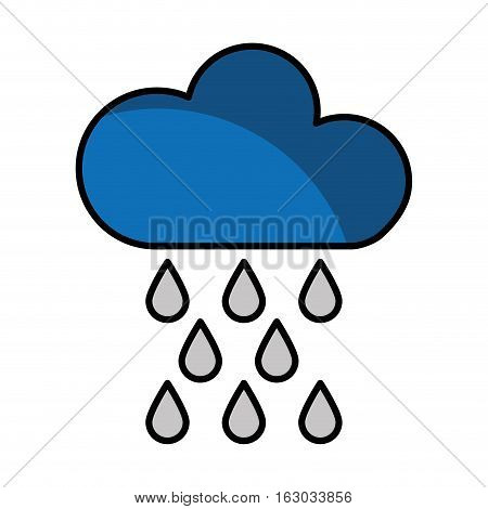 cloud with rain drops climate sign isolated icon vector illustration design