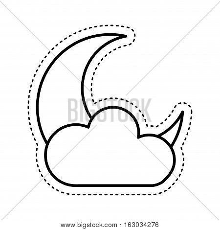 cloud with moon climate sign isolated icon vector illustration design