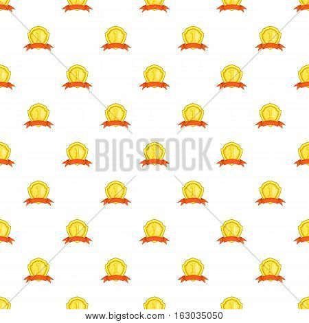 Golden shield for first place pattern. Cartoon illustration of golden shield for first place vector pattern for web