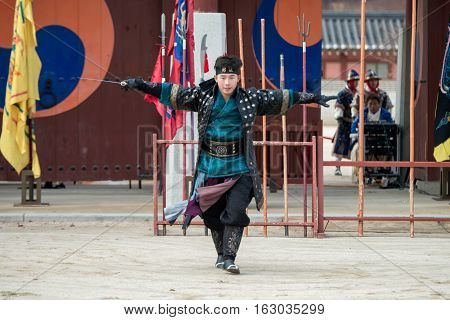 SUWON, SOUTH KOREA - December 23, 2016 : Korean soldier with traditional Joseon dynasty during show martial arts at Hwaseong haenggung square. Photo taken on December 23, 2016 in Suwon, South Korea