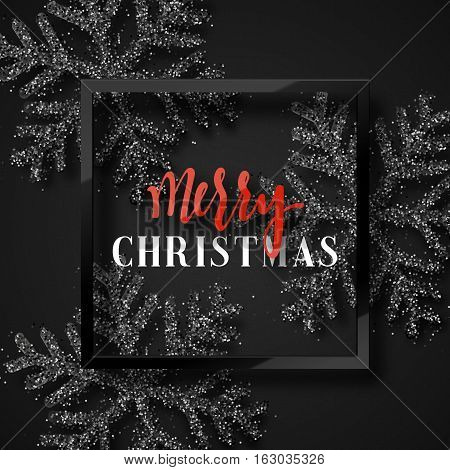 Christmas background, with beautiful bright snowflakes realistic shine glitter. In Framed calligraphy handmade. Merry Christmas poster, greeting card. Xmas decorations for the holidays