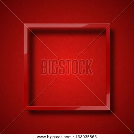 Realistic red frame on the colorful background. Beautiful frame for banners, posters. Fashion mockup design element
