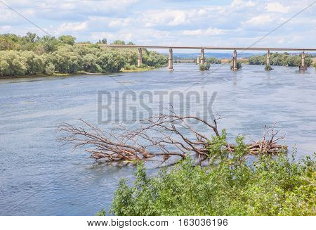 idyllic landscape with flowing water of river