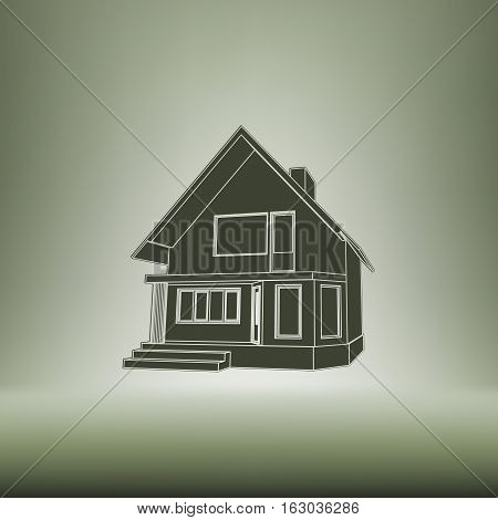Building Perspective 3D. Drawing Of The Suburban House. House 3D Model Perspective Vector