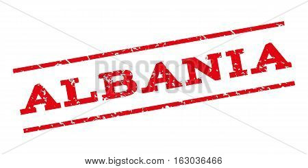 Albania watermark stamp. Text caption between parallel lines with grunge design style. Rubber seal stamp with dirty texture. Vector red color ink imprint on a white background.