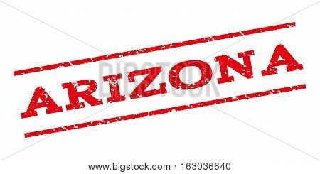 Arizona watermark stamp. Text tag between parallel lines with grunge design style. Rubber seal stamp with scratched texture. Vector red color ink imprint on a white background.