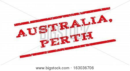 Australia Perth watermark stamp. Text tag between parallel lines with grunge design style. Rubber seal stamp with scratched texture. Vector red color ink imprint on a white background.