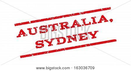Australia Sydney watermark stamp. Text caption between parallel lines with grunge design style. Rubber seal stamp with dust texture. Vector red color ink imprint on a white background.