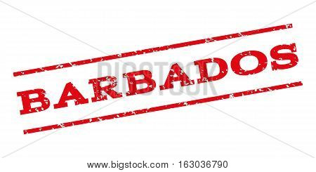 Barbados watermark stamp. Text tag between parallel lines with grunge design style. Rubber seal stamp with unclean texture. Vector red color ink imprint on a white background.