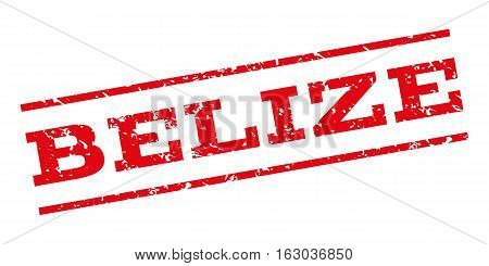 Belize watermark stamp. Text caption between parallel lines with grunge design style. Rubber seal stamp with dust texture. Vector red color ink imprint on a white background.