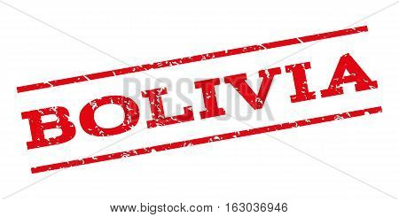 Bolivia watermark stamp. Text caption between parallel lines with grunge design style. Rubber seal stamp with dust texture. Vector red color ink imprint on a white background.