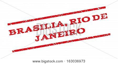 Brasilia Rio De Janeiro watermark stamp. Text caption between parallel lines with grunge design style. Rubber seal stamp with unclean texture. Vector red color ink imprint on a white background.