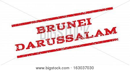 Brunei Darussalam watermark stamp. Text tag between parallel lines with grunge design style. Rubber seal stamp with unclean texture. Vector red color ink imprint on a white background.