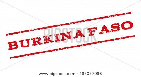 Burkina Faso watermark stamp. Text caption between parallel lines with grunge design style. Rubber seal stamp with unclean texture. Vector red color ink imprint on a white background.