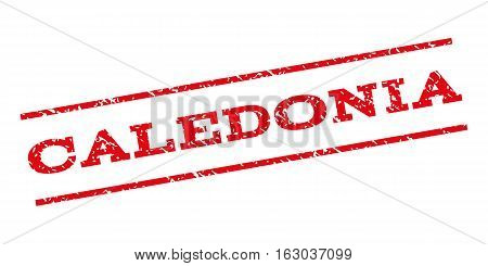 Caledonia watermark stamp. Text caption between parallel lines with grunge design style. Rubber seal stamp with dust texture. Vector red color ink imprint on a white background.