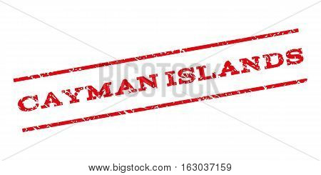 Cayman Islands watermark stamp. Text caption between parallel lines with grunge design style. Rubber seal stamp with dirty texture. Vector red color ink imprint on a white background.