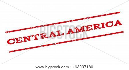 Central America watermark stamp. Text caption between parallel lines with grunge design style. Rubber seal stamp with dirty texture. Vector red color ink imprint on a white background.