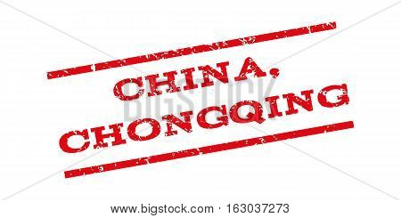 China Chongqing watermark stamp. Text caption between parallel lines with grunge design style. Rubber seal stamp with dirty texture. Vector red color ink imprint on a white background.