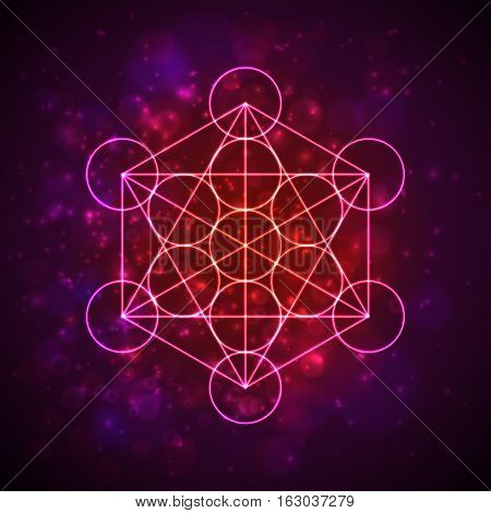 Metatrons Cube - Flower of Life. Vector illustration