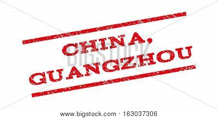China Guangzhou watermark stamp. Text tag between parallel lines with grunge design style. Rubber seal stamp with unclean texture. Vector red color ink imprint on a white background.