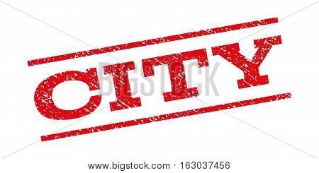 City watermark stamp. Text caption between parallel lines with grunge design style. Rubber seal stamp with dirty texture. Vector red color ink imprint on a white background.