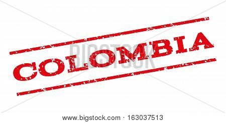 Colombia watermark stamp. Text tag between parallel lines with grunge design style. Rubber seal stamp with scratched texture. Vector red color ink imprint on a white background.