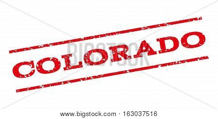 Colorado watermark stamp. Text caption between parallel lines with grunge design style. Rubber seal stamp with scratched texture. Vector red color ink imprint on a white background.