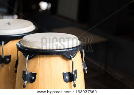 Close-up of bongos on stage. live music