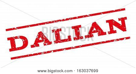 Dalian watermark stamp. Text caption between parallel lines with grunge design style. Rubber seal stamp with unclean texture. Vector red color ink imprint on a white background.
