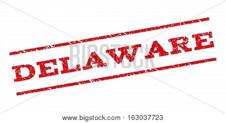 Delaware watermark stamp. Text caption between parallel lines with grunge design style. Rubber seal stamp with dust texture. Vector red color ink imprint on a white background.