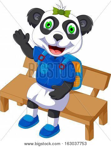cute panda cartoon sitting on a chair