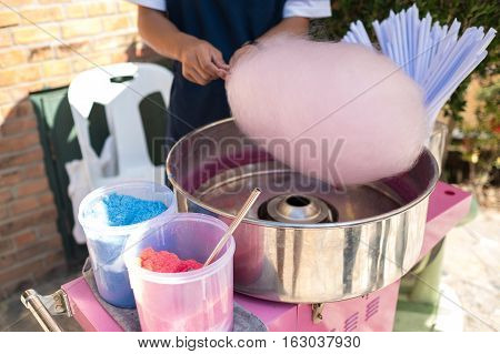 Japanese candy and sweet, People make cotton candy for children