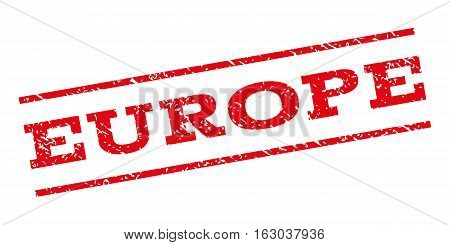 Europe watermark stamp. Text caption between parallel lines with grunge design style. Rubber seal stamp with dust texture. Vector red color ink imprint on a white background.