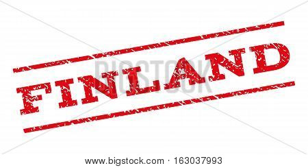 Finland watermark stamp. Text tag between parallel lines with grunge design style. Rubber seal stamp with unclean texture. Vector red color ink imprint on a white background.