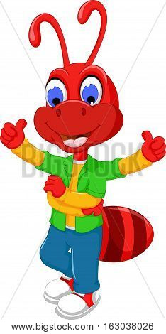 cute red ant cartoon standing with thumb up