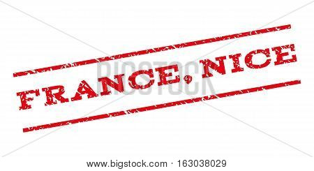 France Nice watermark stamp. Text tag between parallel lines with grunge design style. Rubber seal stamp with unclean texture. Vector red color ink imprint on a white background.