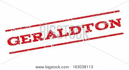 Geraldton watermark stamp. Text tag between parallel lines with grunge design style. Rubber seal stamp with dirty texture. Vector red color ink imprint on a white background.