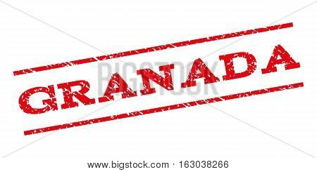 Granada watermark stamp. Text tag between parallel lines with grunge design style. Rubber seal stamp with unclean texture. Vector red color ink imprint on a white background.
