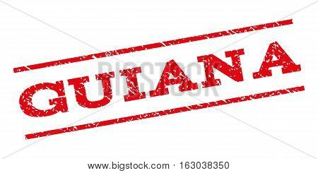 Guiana watermark stamp. Text tag between parallel lines with grunge design style. Rubber seal stamp with unclean texture. Vector red color ink imprint on a white background.