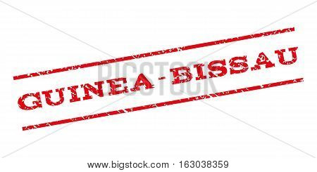 Guinea-Bissau watermark stamp. Text caption between parallel lines with grunge design style. Rubber seal stamp with scratched texture. Vector red color ink imprint on a white background.
