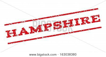 Hampshire watermark stamp. Text caption between parallel lines with grunge design style. Rubber seal stamp with scratched texture. Vector red color ink imprint on a white background.