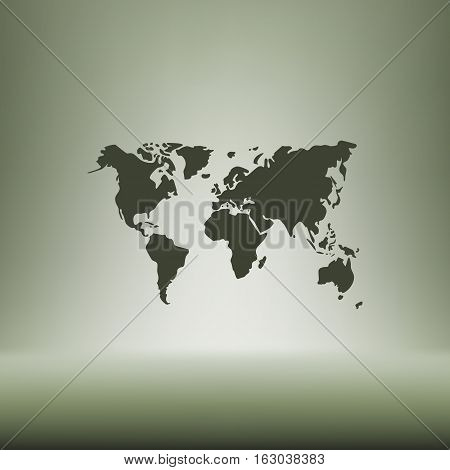Flat Paper Cut Style Icon Of World Map