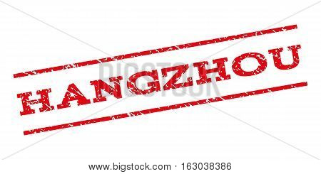 Hangzhou watermark stamp. Text caption between parallel lines with grunge design style. Rubber seal stamp with dust texture. Vector red color ink imprint on a white background.