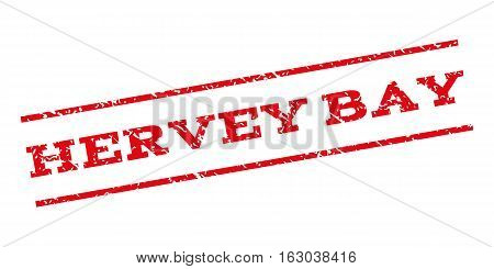 Hervey Bay watermark stamp. Text tag between parallel lines with grunge design style. Rubber seal stamp with scratched texture. Vector red color ink imprint on a white background.
