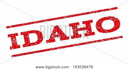 Idaho watermark stamp. Text tag between parallel lines with grunge design style. Rubber seal stamp with unclean texture. Vector red color ink imprint on a white background.