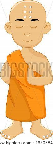 cute monk cartoon standing for you design
