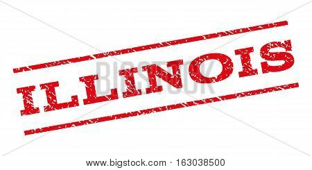 Illinois watermark stamp. Text tag between parallel lines with grunge design style. Rubber seal stamp with dirty texture. Vector red color ink imprint on a white background.
