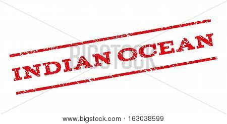 Indian Ocean watermark stamp. Text caption between parallel lines with grunge design style. Rubber seal stamp with dust texture. Vector red color ink imprint on a white background.